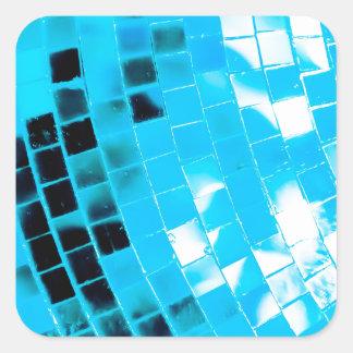 Blue Funky Disco Ball Square Sticker