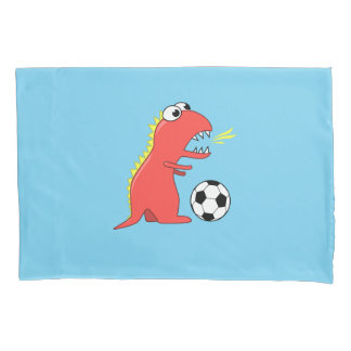 Blue Funny Cartoon Dinosaur Soccer Pillowcase