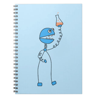Blue Funny Cartoon Robot Chemistry Spiral Note Books