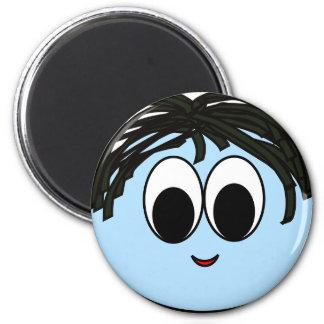 Blue Funny Smiley Face Magnet