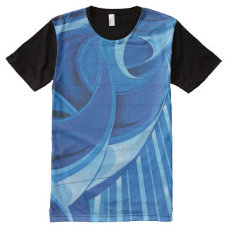 Blue Fusion Swirl All-Over Print T-Shirt