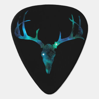 Blue Galaxy Deer Skull Guitar Pick