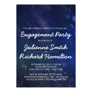 Blue Galaxy Engagement Party Card