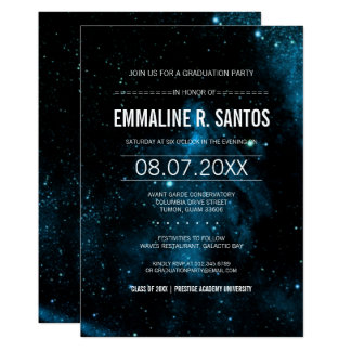 Blue Galaxy Graduation Party Invite