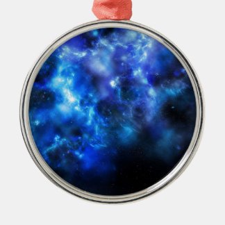 Blue Galaxy Print Metal Ornament