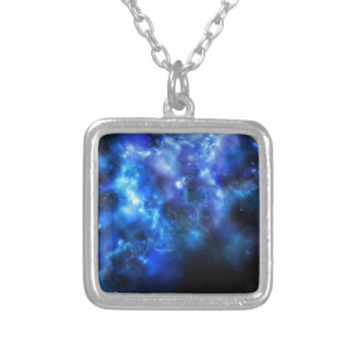 Blue Galaxy Print Silver Plated Necklace