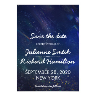 Blue Galaxy Save the Date | Written in the Stars Card