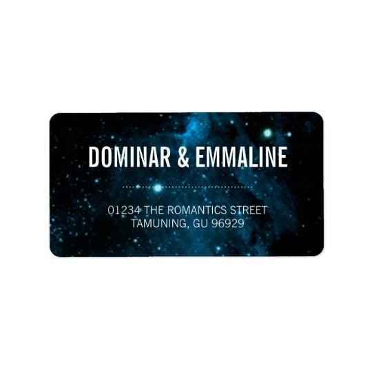 Blue Galaxy Wedding Address Labels