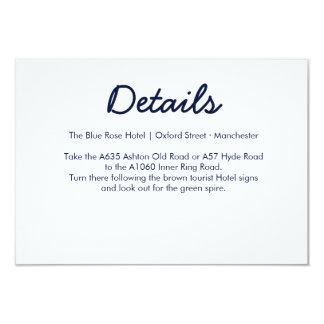 Blue Galaxy Wedding Directions Card