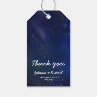 """Blue Galaxy Wedding Favors """"thank you"""" Gift Tags"""