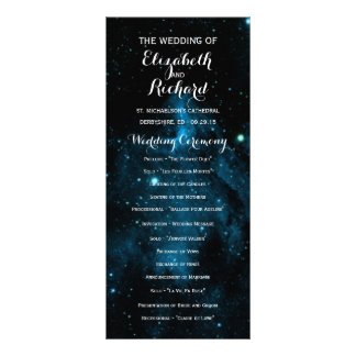 Blue Galaxy Wedding Programs Custom Rack Card