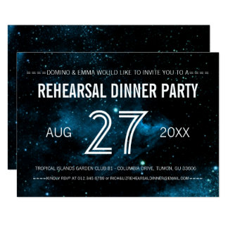 Blue Galaxy Wedding Rehearsal Dinner Card