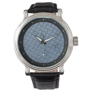 Blue Galvanized Steel Texture Black Leather Watch