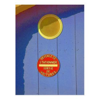 Blue Garage Door in France No Parking Sign Postcard