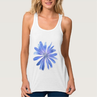 Blue Garden Cornflower Singlet Flowy Racerback Tank Top