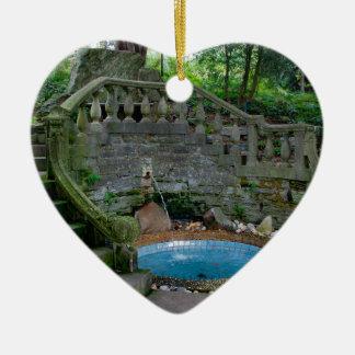 Blue Garden Fountain Ceramic Heart Decoration
