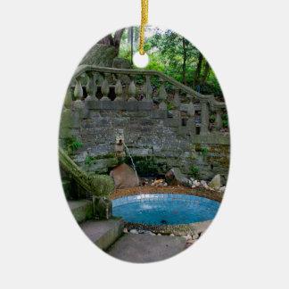 Blue Garden Fountain Ceramic Oval Decoration