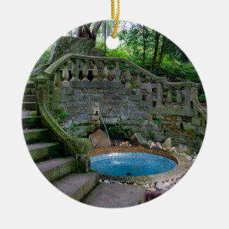Blue Garden Fountain Round Ceramic Decoration