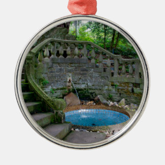 Blue Garden Fountain Silver-Colored Round Decoration
