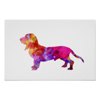 Blue Gascony Basset in watercolor Poster