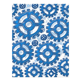 Blue gear wheels 21.5 cm x 28 cm flyer