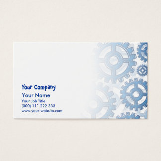 Blue gear wheels business card