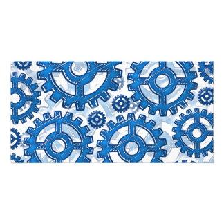 Blue gear wheels photo greeting card