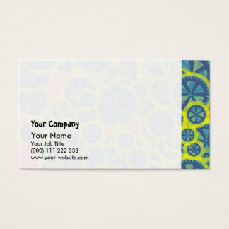 Blue gearwheels business card