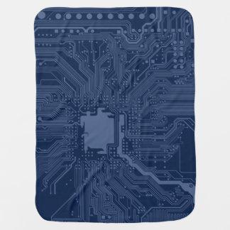 Blue Geek Motherboard Circuit Pattern Baby Blanket