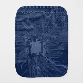 Blue Geek Motherboard Circuit Pattern Baby Burp Cloths