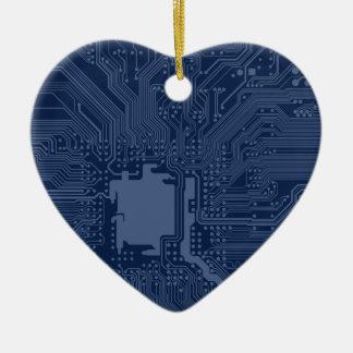 Blue Geek Motherboard Circuit Pattern Ceramic Heart Decoration