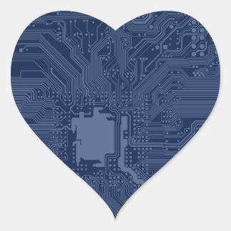 Blue Geek Motherboard Circuit Pattern Heart Sticker