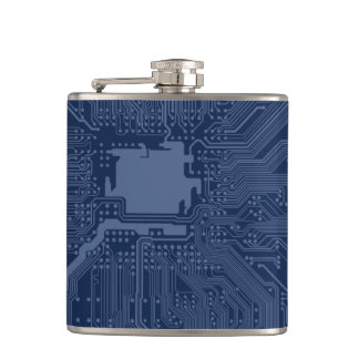 Blue Geek Motherboard Circuit Pattern Hip Flask