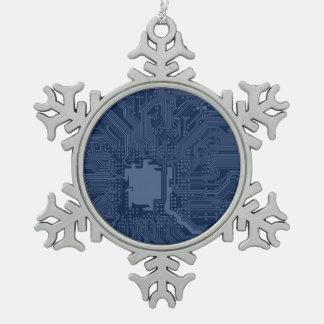 Blue Geek Motherboard Circuit Pattern Pewter Snowflake Decoration