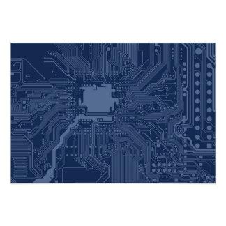 Blue Geek Motherboard Circuit Pattern Photo
