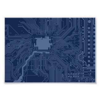 Blue Geek Motherboard Circuit Pattern Photo Art