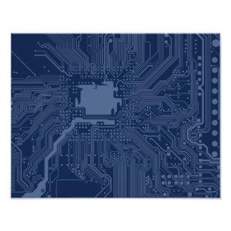 Blue Geek Motherboard Circuit Pattern Photograph