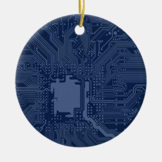 Blue Geek Motherboard Circuit Pattern Round Ceramic Decoration