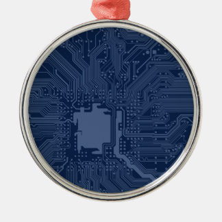 Blue Geek Motherboard Circuit Pattern Silver-Colored Round Decoration