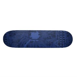 Blue Geek Motherboard Pattern Skate Deck