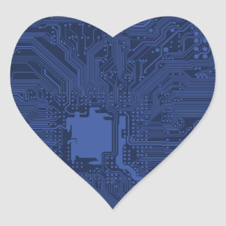 Blue Geek Motherboard Pattern Heart Stickers