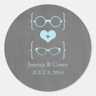 Blue Geeky Glasses Chalkboard Wedding Stickers