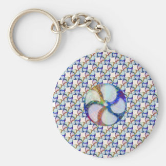 BLUE Gem Floral Pattern Basic Round Button Key Ring
