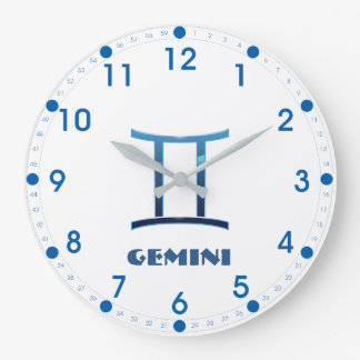 Blue Gemini Zodiac Sign On White Large Clock