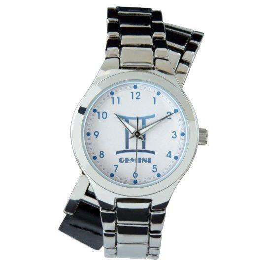 Blue Gemini Zodiac Sign On White Watch