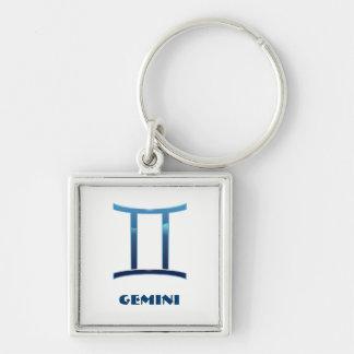 Blue Gemini Zodiac Signs On White Key Ring