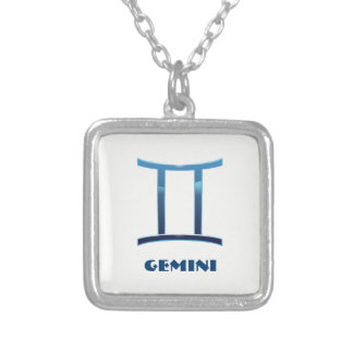 Blue Gemini Zodiac Signs On White Silver Plated Necklace