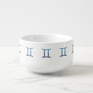 Blue Gemini Zodiac Signs On White Soup Mug