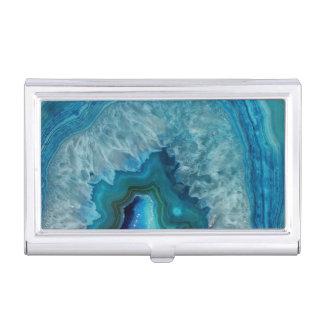 Blue Geode Rock Mineral Agate Crystal Image Business Card Holder