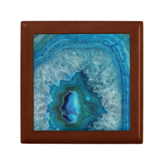 Blue Geode Rock Mineral Agate Crystal Image Gift Box